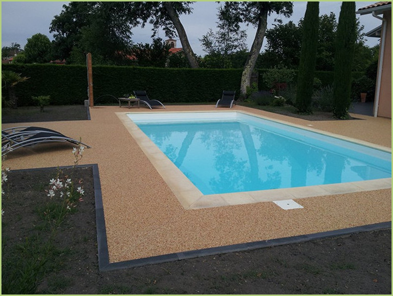 Terrace and contours of pool Resin marble color giallo mori